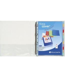 Exacompta Kreacover - Classeur à anneaux personnalisable - Dos 20 mm - A4 Maxi - pour 100 feuilles - blanc - 3 pochettes exté