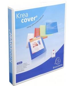 Exacompta Kreacover - Classeur à anneaux personnalisable - Dos 25 mm - A4 Maxi - blanc - 3 pochettes extérieures