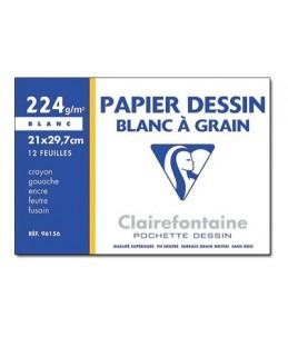 Clairefontaine - Dessin à Grain - pochette papier à dessin  - 12 feuilles - A4 - 224G - blanc