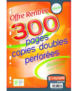Calligraphe - 300 copies doubles sous film - A4 - grands carreaux( Seyes) - perforées