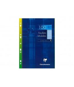 Clairefontaine 100 feuilles simples grands carreaux A4 bleu perforées