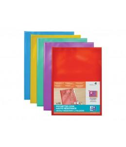 Oxford - 10 Pochettes coin - A4 - pour 25 feuilles - 15/100 - assorties transparents