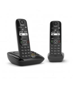 Gigaset AS690A Duo - téléphone sans fil + combiné supplémentaire - avec répondeur - noir