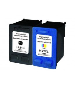 HP 21/22 - remanufacturé UPrint H.21/22XL - Pack de 2 - noir, cyan, magenta, jaune - cartouche d'encre