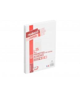 GPV PACK'N POST - 25 Pochettes blanches dos cartonné - 229 x 324 mm - avec bande (auto-adhésif)