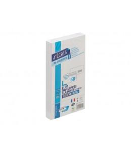 GPV EVERYDAY - 50 Enveloppes blanches - 110 x 220 mm - avec bande auto-adhésive - 1 fenêtre