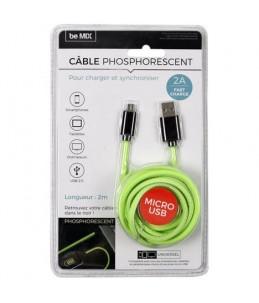 CABLE CHG RAPIDE 2A MICRO USB PHOSPHORESCENT M12A