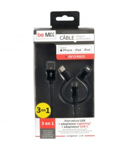 CABLE 3EN1 MICRO USB MFI IPHONE AGREE TYPE C M8