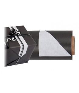 Logistipack - 1 Rouleau de papier cadeau - 70 cm x 40 m - Noir/Blanc