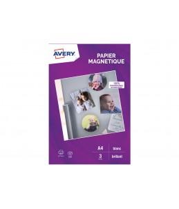Avery - 3 Feuilles de Papier Magnetique - A4 - Impression Jet d'encre - Brillant