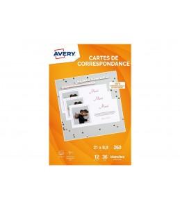 Avery - 36 Cartes de Correspondance à Bords Lisses - 210 x 99mm - Impression Jet d'encre - Blanc
