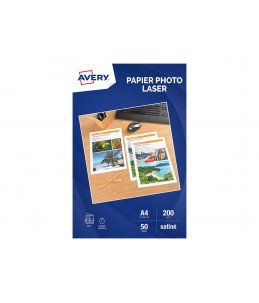 Avery - 50 Feuilles de Papier Photo Premium - A4 - 200g/m² - Impression Laser - Satiné Recto/Verso