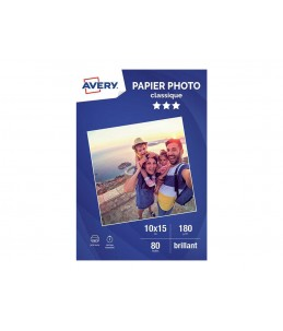 Avery - 80 Feuilles de Papier Photo 180g/m² - 10 x 15mm - Impression Jet d'encre - Brillant