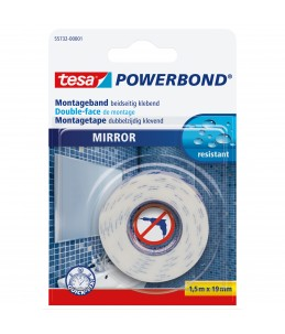 Tesa Powerbond - Adhésif double face spécial miroir - 1,5 m x 19 mm