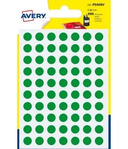 Avery - 490 Pastilles vertes - Diametre  8mm