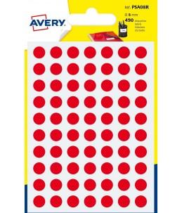 Avery - 490 Pastilles rouges - Diametre  8mm