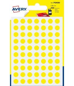 Avery - 490 Pastilles jaunes - Diametre  8mm