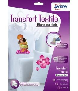 Avery - 8 Papiers Transferts T shirt Textile Blancs ou Clairs - A4 - Impression Jet d'encre