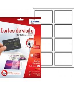 Avery - 80 Cartes de Visite blanches à Bords Lisses - 85 x 54mm - Impression Jet d'encre
