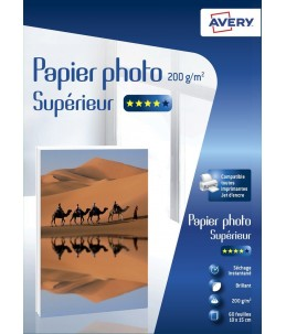 Avery - 60 Feuilles de Papier Photo 200g m² - 10 x15 cm - Impression Jet d'encre - Brillant