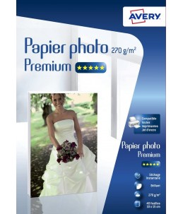 Avery - 40 Feuilles de Papier Photo 270g m² - 10 x15 - Impression Jet d'encre - Brillant