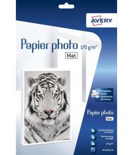 Avery - 20 Feuilles de Papier photo Premium 170 g m² A4 - Impression Jet d'encre - Mat