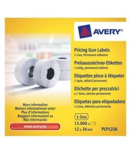 Avery - 10 rouleaux de 1500 étiquettes pour étiqueteuse 1 ligne - 12 x 26mm - Blanc