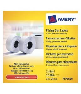 Avery - 10 rouleaux de 1200 étiquettes pour étiqueteuse 2 lignes - 16 x 26mm - Blanc