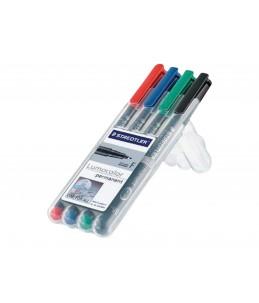 STAEDTLER Lumocolor 318 - 4 Marqueurs - permanent - noir, rouge, bleu, vert - 0.6 mm