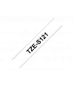 Brother TZeS121 - Bande adhésive laminée très résistante - noir sur transparent - 1 Rouleau (0,9 cm x 8 m)