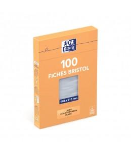 Oxford - Fiches Bristol - A5 - 14,8 x 21 cm - Non perforées - Blanc - Uni - Pack de 100