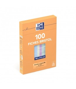 Oxford - Fiches Bristol - A5 - 14,8 x 21 cm - Perforées - Couleurs assorties - Petits carreaux - Pack de 100