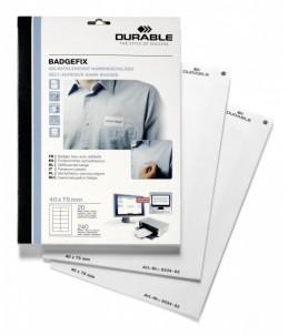 DURABLE BADGEFIX - 240 Étiquettes pour badges - tissu - blanc - 40 x 75 mm