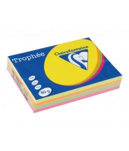 Clairefontaine Trophée - Papier couleur - A4 - 80 g/m² - 500 feuilles - 4 couleurs fluo