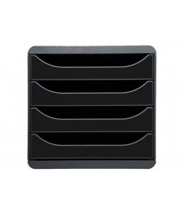Exacompta BIG-BOX Classic - Bloc de classement 4 tiroirs - Noir/Noir