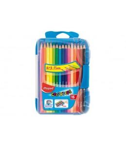 Maped Color'Peps - 15 Crayons de couleur - couleurs assorties - 2.9 mm