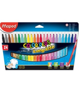 Maped Color'Peps Long Life - 24 Feutres - Pointe moyenne