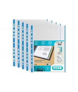 ELBA - 10 Pochettes perforées - A4 - pour 12 feuilles - 9/100 - Bleu