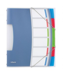Esselte Vivida - Trieur - 6 pochettes - 6 positions - à onglets - blanc, translucide