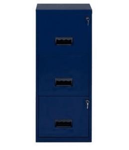 Classeur 3 tiroirs pour dossiers suspendus - 96 x 40 x 40 cm - bleu nuit nacré