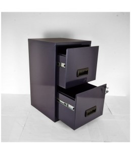Classeur 2 tiroirs pour dossiers suspendus - 66 x 40 x 40 cm - bleu nuit nacré