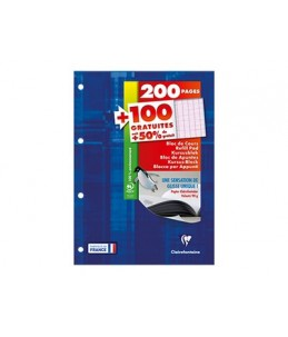 Clairefontaine - Bloc-notes - A4 - 300 pages - grands carreaux