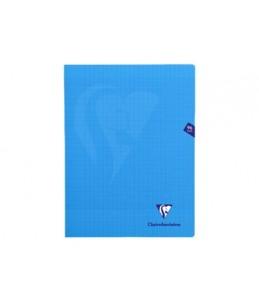 Clairefontaine MIMESYS - Cahier piqué -24 x32 cm - 96 pages - grands carreaux - bleu