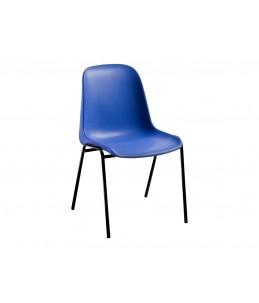 Chaise CHARLOTTE - structure métal noire - bleu