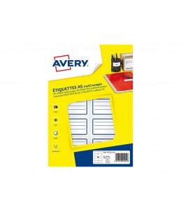Avery - 120 Étiquettes Scolaires Blanches à lignes bleues - 36 x 56mm - Planche A5