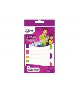 Avery - Sachet de 24 Étiquettes Plastifiees - Blanc avec Bordure Fluo Rose/Violet/Vert/Orange