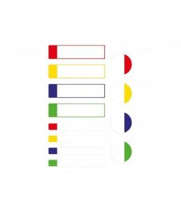 Avery - 24 Étiquettes plastifiées multicolores - Blanc avec bordure verte, bleue, jaune et rouge - 63 x 16 / 63 x 8 / Ø 25 mm