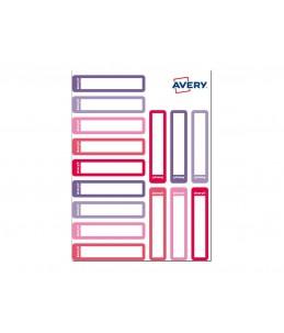 Avery - 30 Étiquettes stylos blanches avec bordure camaïeu rose - 50 x 10 mm