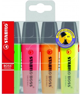 Stabilo BOSS ORIGINAL - 4 Surligneurs - orange, jaune, vert, rose