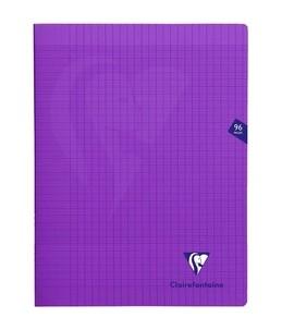 Clairefontaine MIMESYS - Cahier piqué -24 x32 cm - 96 pages - grands carreaux - violet